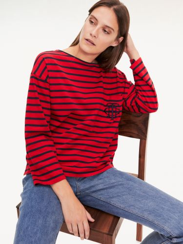 BRETON STRIPE T-SHIRT ESSENTIAL ΜΕ ΜΟΝΟΓΡΑΜΜΑ,WW0WW267860EW