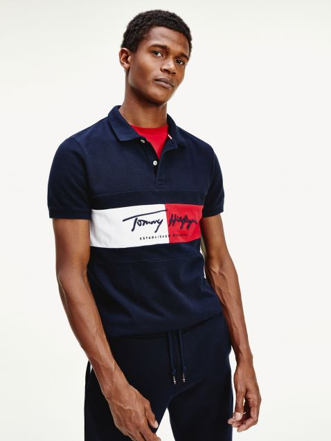 COLOUR-BLOCKED SLIM FIT POLO